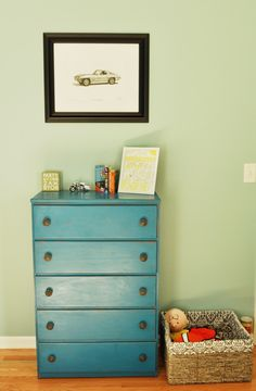 Project Nursery - if it's a boy, a drawing of a vintage BMW. Ode to Daddy.  Maybe for a girl too. Cute!