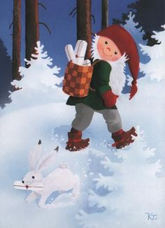 by Kaarina Toivanen Christmas Elf, Christmas Crafts, David The Gnome, Funny Drawings, Country Paintings, Old Cartoons, Woodland Creatures, Gifs, Elves