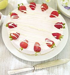 Strawberry and White Chocolate Mousse Cake - get recipe here: http://www.dailymail.co.uk/femail/food/article-2004640/Recipe-Strawberry-white-chocolate-mousse-cake.html