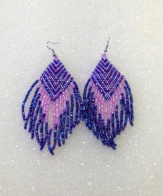 """Native American Inspired Beaded Dangle Earrings In Cobalt Blue and Lilac Chevron Design Dress Them Up Or Dress Them Down Approx. 1 1/2"""" Wide X 4"""" Long Glass Seed Beads Fireline Silver Tone Ear Wire Makes A Nice Gift Too"""