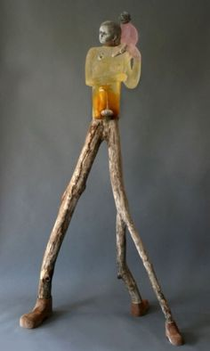 Christina Bothwell - Phoenix Cast recycled glass, raku fired clay, oil paint and found wood. 60 x 33 x 21 inches