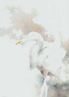 """Saatchi Art Artist Gusław de Crayons; Painting, """"Misty heron"""" #art"""