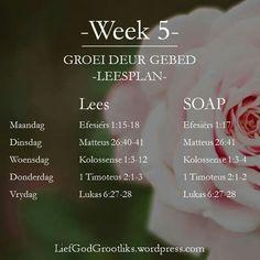 {Groei deur Gebed} - Waarvoor om te bid - Week 5 - Leesplan