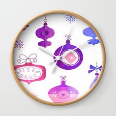 Pink and Purple Vintage Ornaments Wall Clock by Samantha Lynn. Worldwide shipping available at Society6.com. Just one of millions of high quality products available.