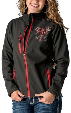 Cowgirl Hardware Women's Black with Red Winged Cross Polyshell Jacket I would so love this! hint hint to anybody lmao Country Girl Style, Country Fashion, Country Outfits, Country Girls, Fall Outfits, Cute Outfits, Fashion Outfits, My Style, Cowgirl Outfits