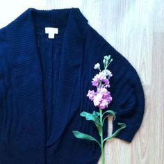 """LOFT Ink Navy dolman open shawl cardigan Open knit ink navy cardigan from the Loft. Dolman sleeves and shawl collar with an open front. Cotton, arcrylic. Perfect layer from spring/summer nights. In mint condition. Front measures approx 24"""". Size is marked XS/S. Fits like a small. LOFT Sweaters Cardigans"""