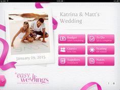 The Easy Weddings iPad planner contains: Budget Calculator, Seating Chart, Guest List, Suppliers, Notes page, To Do List!    #wedding #wedding planning #iPad