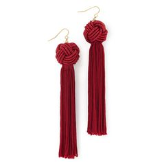 Vanessa Mooney The Astrid Knotted Tassel Earrings (1.025.765 VND) ❤ liked on Polyvore featuring jewelry, earrings, burgundy, vanessa mooney, gold plated earrings, burgundy earrings, vanessa mooney earrings and knot earrings