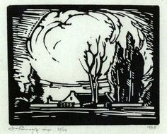 JH Pierneef, Linocut, 125 x 150 mm, Farmhouse on landscape Mural Painting, Artist Painting, South African Artists, Encaustic Art, Lino Prints, Art Prints, Art Boards, Printmaking, Landscape Paintings