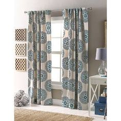 I think my mom said she was going to get these and sew them shorter for me. Jillian for office. Target Threshold™ Medallion Curtain Panel 10% off online. Need a set. Not sure if sold with one or two panels.