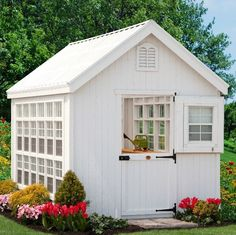Little Cottage 8 x 16 ft. Colonial Gable Greenhouse with Optional Floor Kit - Crafted from wood, the Little Cottage 8 x 16 ft. Colonial Gable Greenhouse with Optional Floor Kit is not only a beautiful addition to your backyard,. Diy Storage Shed Plans, Backyard Storage Sheds, Wood Shed Plans, Outdoor Storage, Storage Ideas, Petits Cottages, Gazebo, Little Cottages, Shed Kits