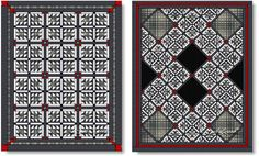 Sample quilts made using BLACK TIE EVENT quilt block pattern -- a free download.