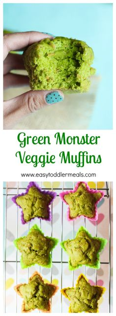 Green Monster Veggie Muffin- I used honey instead of sugar. I think I would decrease to 2 Tbs next time and maybe add a bit more spinach. Also subbed cup of Whole Wheat flour. Good texture and flavor. Kids loved them! (Doubling recipe yielded even bet Healthy Kids, Healthy Snacks, Healthy Recipes, Eat Healthy, Detox Recipes, Fruit Snacks, Fruit Smoothies, Veggie Snacks, Healthy Fruits