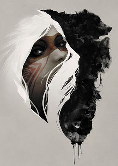Fine Art Print - Digital Painting - Native American, Wolf, Grizzly Bear, Tribal, Nature, Totem