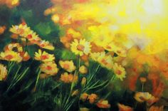 Yellow Daisies in the Sun: Original Abstract Realist Painting - Art for Sale