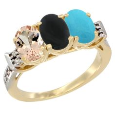 14K Yellow Gold Natural Morganite, Black Onyx and Turquoise Ring 3-Stone Oval 7x5 mm Diamond Accent, sizes 5 - 10 * Review more details here : Ring Bands