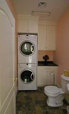 Sweet home on pinterest bathroom laundry rooms laundry for Small bathroom designs with washer and dryer