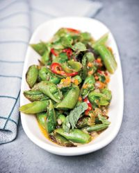 Sugar Snap Peas with Soffrito, Hot Pepper and Mint  - Quick Side Dishes on Food & Wine