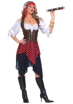 SWEET BUCCANEER COSTUME...  Ahoy matey! This Sweet Buccaneer Costume is great for serving up some beer and making bad pirates walk the plank.  #teelieturner #pirate #halloweencostumes