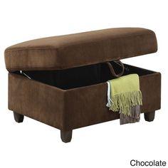 "Chocolate Belville Microfiber Storage Ottoman 35"" x 25"" x 19""H Xtra Seating #AcmeFurniture #Contemporary"