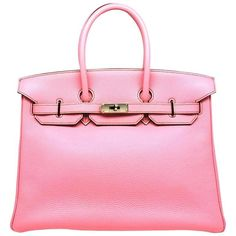 Hermes Birkin 35 Rose Shocking Pink Togo Leather Silver Metal Top... ($20,770) ❤ liked on Polyvore featuring bags, handbags, real leather purses, genuine leather handbags, pink leather purse, genuine leather purse and hermes handbags