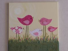 """Canvas Art for little Girls Room - """"Birds of a Feather"""" series - Hot Pinks. $38.00, via Etsy."""