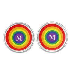 Gay / Lesbian LGBT Rainbow Pride Flag Monogram cufflinks from #Ricaso
