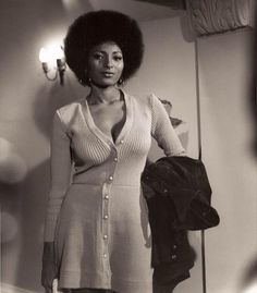 70s Pam Grier in Black and White - Codeblack Icons