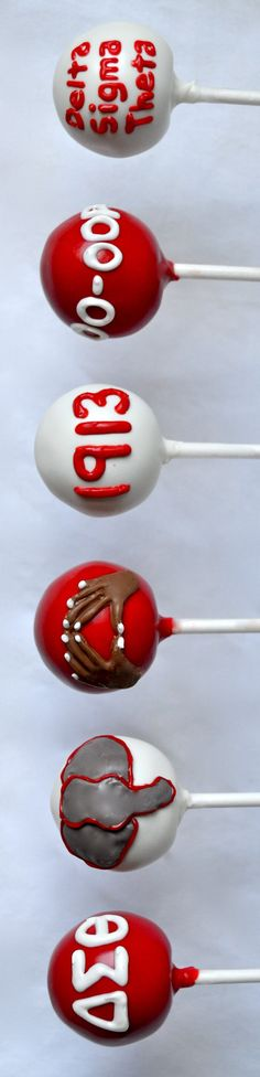 "Delta Sigma Theta cake pops I WOULD LOVE TO MAKE THESE FOR MY WONDERFUL FRIENDS WHO ARE ""DST"" ALL THE WAY: MEL ,LINDA, LYNN, CAROL AND RIP MURRAY---A GREAT LOVE FOR ONE ANOTHER AND  OTHERS THEY SHARE AND SPREAD....AND DIANA TOO..."