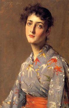 William Merritt Chase (1849 - 1916) Girl in a Japanese Kimono