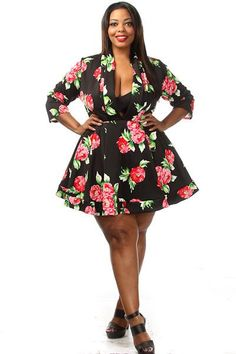 Plus Size Floral Print Tulle Lined Skater Dress