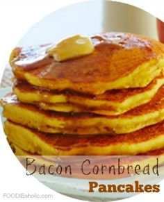 Looking for a breakfast to make Mom this Mother's Day? Treat her to these natural and organic bacon cornbread pancakes! Enjoy the popular bacon-maple combo! Pancakes For Dinner, Pancakes And Waffles, Cornmeal Pancakes, Breakfast Bake, Breakfast Dishes, Breakfast Recipes, My Recipes, Cooking Recipes, Favorite Recipes