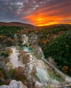 Sunset Over Arbuckle by Mike Trimble...... Turner Falls, Oklahoma.