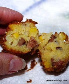 Hoppin' John Fritters - some of my favorite Southern flavors all in one mouthful!  Step-by-step photo tutorial to making these corn fritters with black eyed peas and smoked andouille sausage.