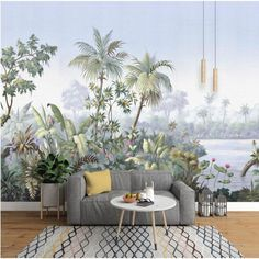 Oil Painting Rainforest Tropical Jungle Forest Trees Wallpaper Wall Mural, Tropical Jungle Plants with Flower Wall Muralfor Restaurant Hotel Wallpaper Wall, Custom Wallpaper, Forest Wallpaper, Bedroom Wallpaper, Chinoiserie Wallpaper, Beach Wallpaper, Retro Wallpaper, Textures Murales, Rainforest Trees