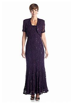 RM Richards Allover Lace and Sequin Gown with Bolero Jacket/belks