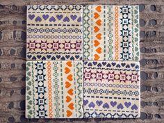 Nordic Print Stone Coasters - set of 4. $24.00, via Etsy.