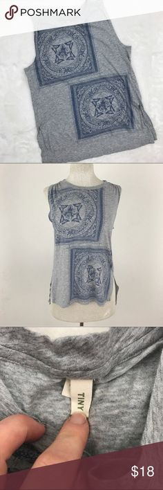 "Gray Sleeveless Tank Top Blouse Unique butterfly design ! Slight high low cut with vented sides. Tiny brand sold at Anthropologie. Great condition, no rips or stains.  Size xs Bust 17"" Longest length 24""  Now accepting offers on bundles ! One low shipping rate no matter how many pieces are bundled 💕 Anthropologie Tops Tank Tops"
