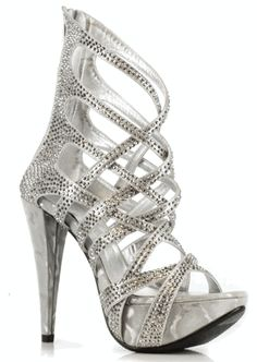 Rhinestone Metallic Ankle Bootie in Silver Clear High Heels, Sexy High Heels, Men In Heels, 3 Inch Heels, Glitz And Glam, Prom Shoes, Ankle Booties, Me Too Shoes, Booty