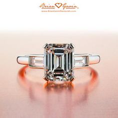 Emerald and Baguette diamond engagement ring by Brian Gavin Diamonds