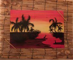 """""""Natura in rosso"""" acrilico su carta, cornice in stuoia naturale con applicazione di conchiglie"""