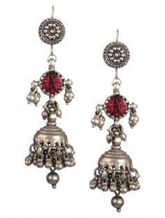 Pair of Tribal Silver Jhumkis