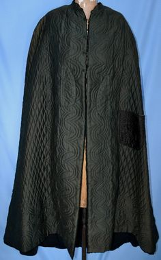 """RARE Antique 1860's Civil War Era Quilted Wool Silk Cape 1800's Cloak Early Coat 