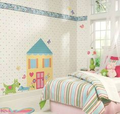 Update your room with a design that matches your current style without the long term commitment. Our temporary wallpaper goes on easy and is easily removable. Murals For Kids, Kids Bedroom Designs, Wall Borders, Temporary Wallpaper, Unique Wall Decor, Nursery Room, Baby Room, Beautiful Wall, New Room