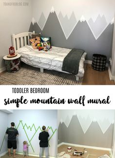 Simple DIY Mountain Wall Mural - materials required and step by step instructions to recreate this look in your child's bedroom. Creating the perfect toddler bedroom, including a simple DIY mountain wall mural with help from the Home Depot Canada. Toddler Rooms, Baby Boy Rooms, Kids Rooms, Room Kids, Toddler Boy Room Ideas, Children Playroom, Babies Rooms, Big Boy Bedrooms, Kids Room Design