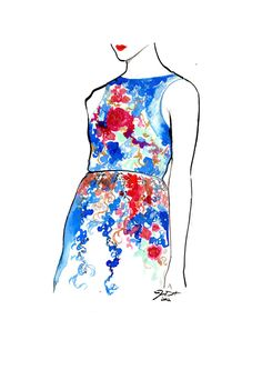 Original watercolor fashion illustration by Jessica Durrant titled Garden Party.