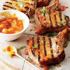 Brown Sugar Pork Chops with Peach Barbecue Sauce.