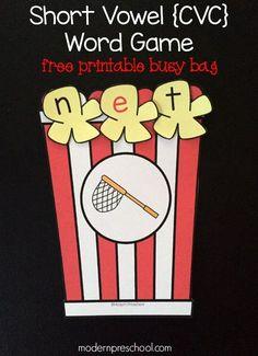 Short Vowel CVC Popcorn Word Game {free printable!} for preschoolers & kindergarteners | Modern Preschool