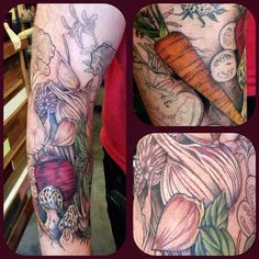 Making progress on the #veggie #herbs #sleeve #beet #carrot #chives #garlic #food #tattoo #organic #botanical Yay! #wonderlandtattoo #wonderlandpdx