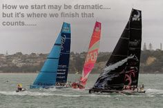 How we start may be dramatic.... but it's where we finish that counts...  (Volvo leaving Auckland, March 2102)